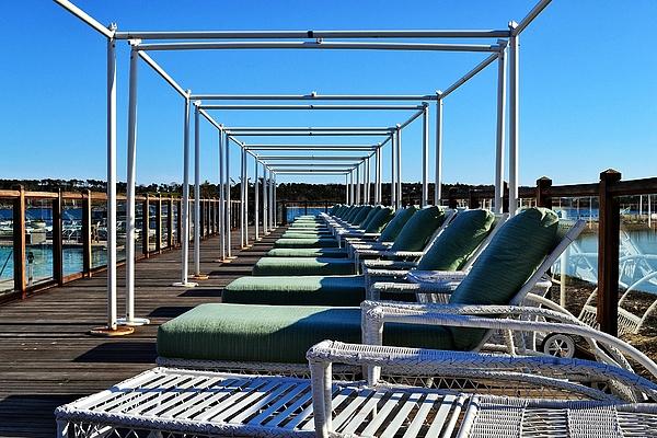 Row Of Beach Chairs Print by Alex Schindel