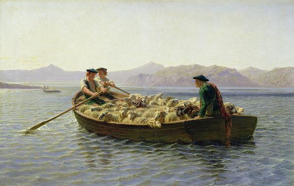 Rowing Boat Print by Rosa Bonheur