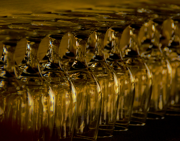 Rows Of Wine Glasses Print by Marion McCristall