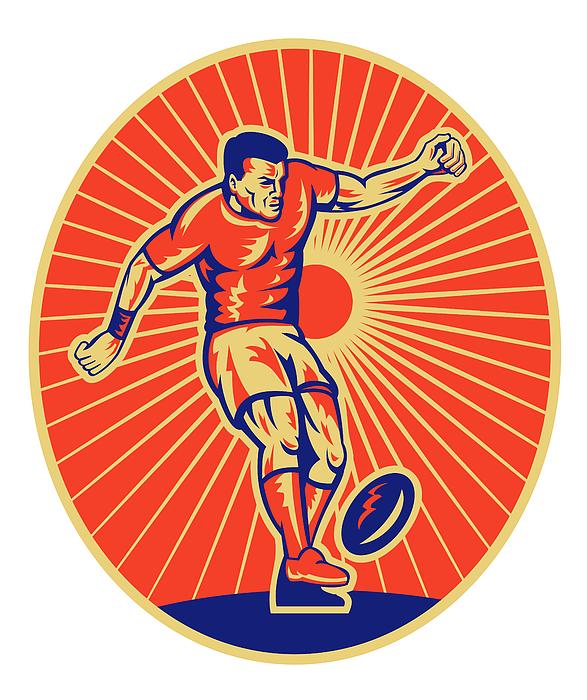 Rugby Player Kicking Ball Woodcut Print by Aloysius Patrimonio