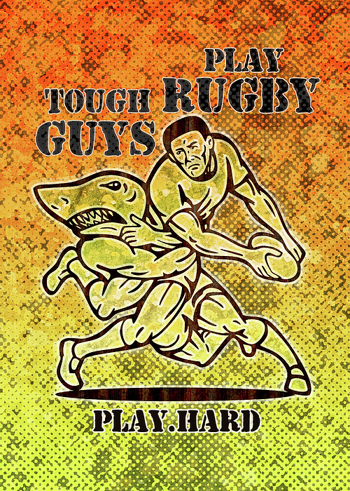 Rugby Player Running With Ball Attack By Shark Print by Aloysius Patrimonio