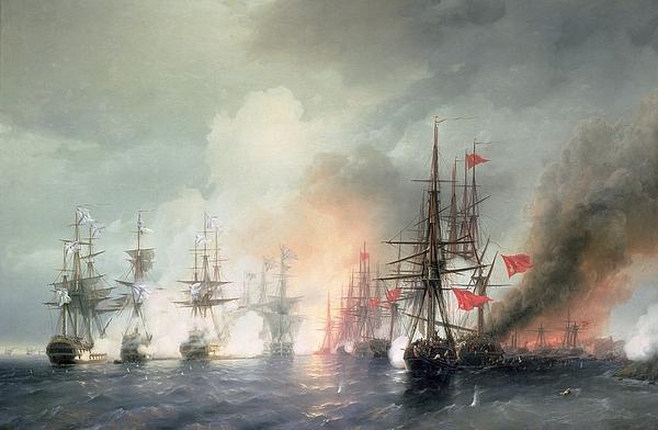 Russian Turkish Sea Battle Of Sinop Print by Ivan Konstantinovich Aivazovsky