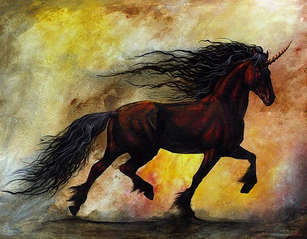 Rust Unicorn Print by Stanley Morrison