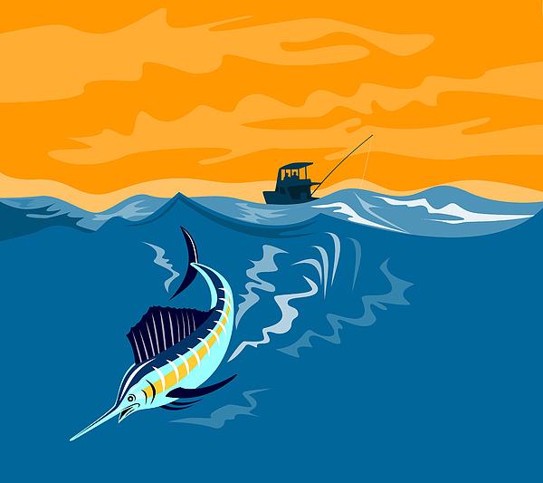 Sailfish Fishing Boat Print by Aloysius Patrimonio