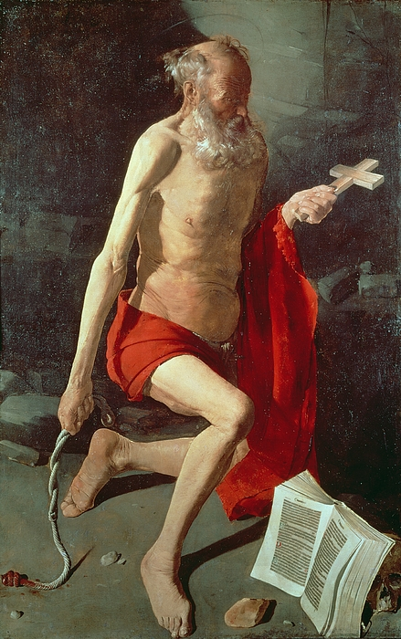 Saint Jerome Print by Georges de la Tour