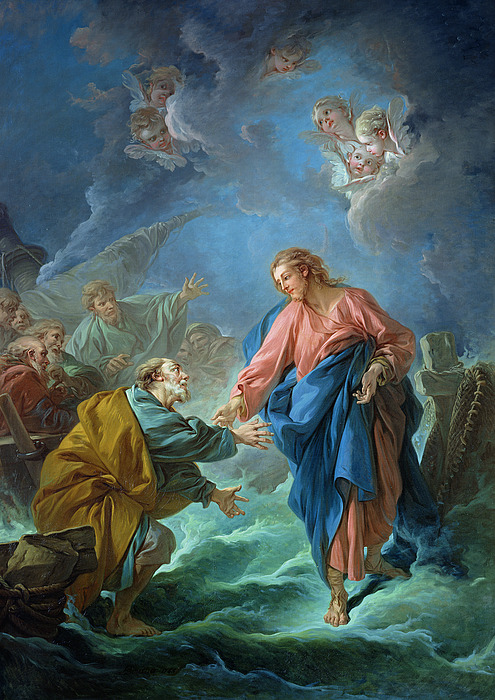 Saint Peter Invited To Walk On The Water Print by Francois Boucher