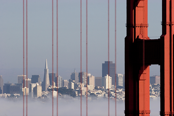San Francisco Skyline From Golden Gate Bridge Print by Mona T. Brooks