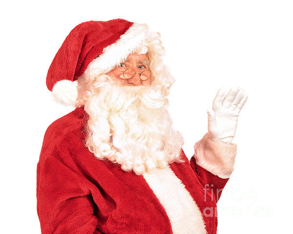 Santa claus waving hand by amanda and christopher elwell