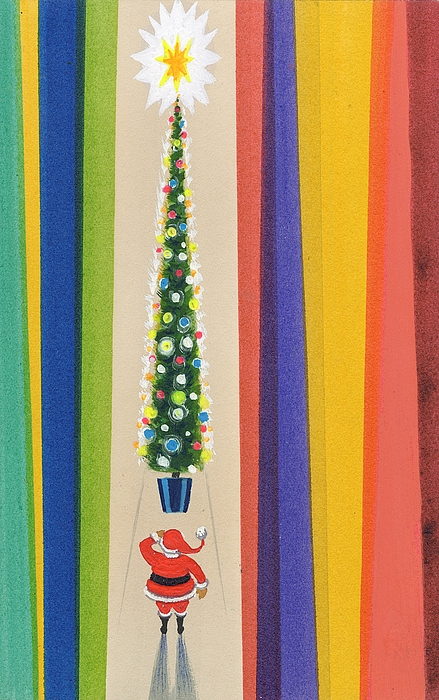 Santa's Christmas Tree Print by Stanley Cooke