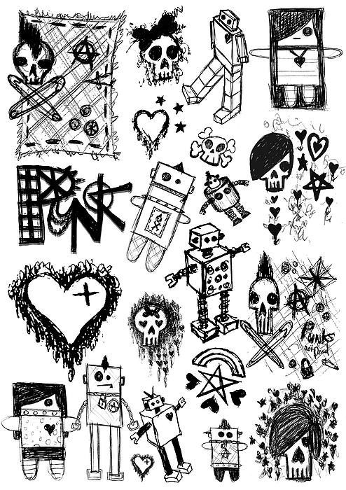 Scene Kid Sketches Print by Roseanne Jones