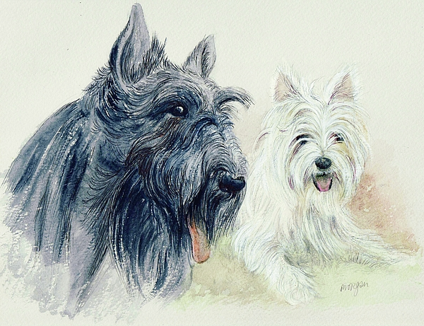 Scottie And Westie Print by Morgan Fitzsimons