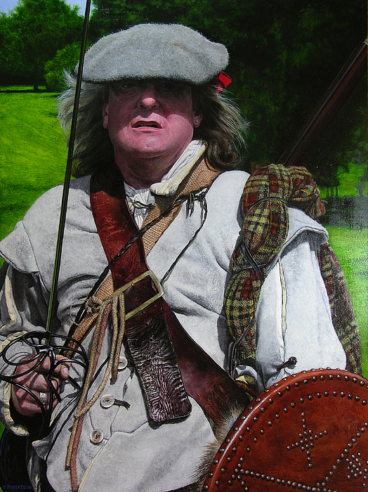 Scottish Soldier Of The Sealed Knot At The Ruthin Seige Re-enactment Print by Harry Robertson