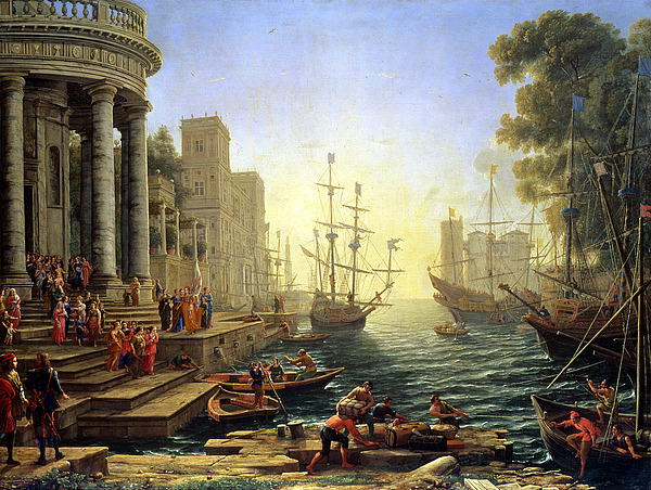 Seaport With The Embarkation Of Saint Ursula  Print by Claude Lorrain