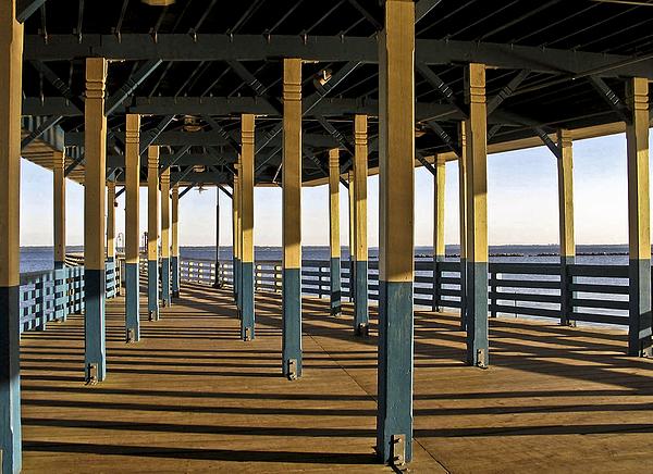 Seascape Walk On The Pier Print by Carol F Austin