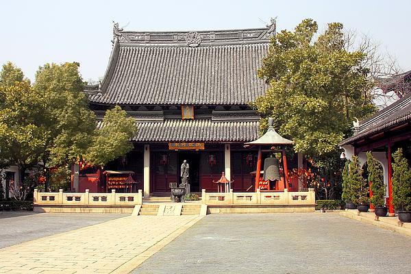 Shanghai Confucius Temple - Wen Miao - Main Temple Building Print by Christine Till
