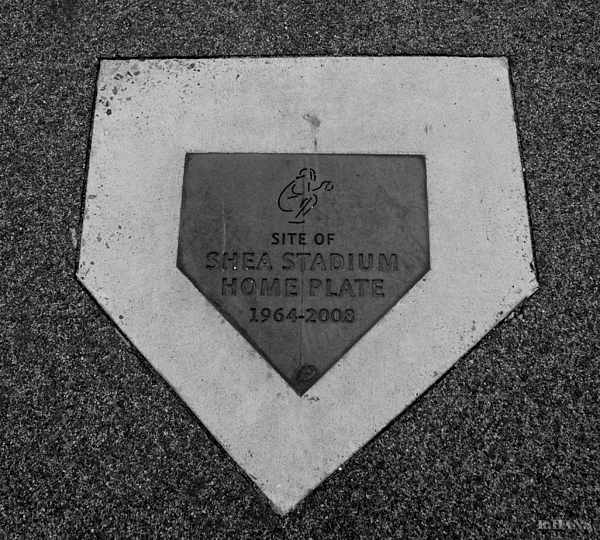 Shea Stadium Home Plate In Black And White Print by Rob Hans
