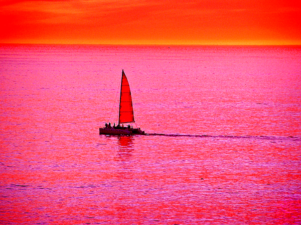 Sherbert Sunset Sail Print by Michael Durst