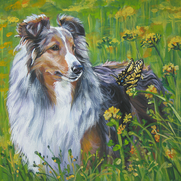 Shetland Sheepdog Wildflowers Print by L A Shepard