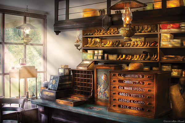 Shoe Maker - Shoes For Sale Print by Mike Savad
