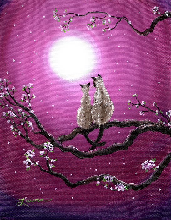 Siamese Cats In Spring Blossoms Print by Laura Iverson