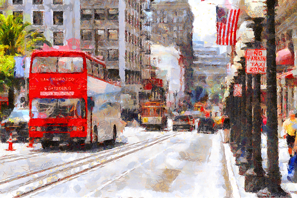 Sightseeing Along Powell Street In San Francisco California . 7d7269 Print by Wingsdomain Art and Photography