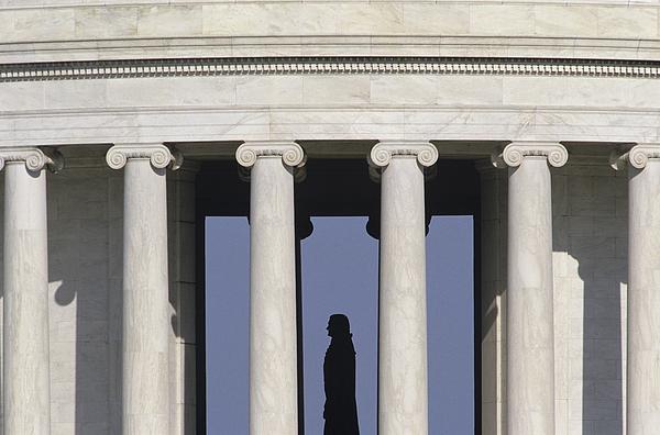 Silhouette Of The Jefferson Memorial Print by Kenneth Garrett