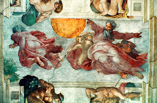 Sistine Chapel Ceiling Creation Of The Sun And Moon Print by Michelangelo