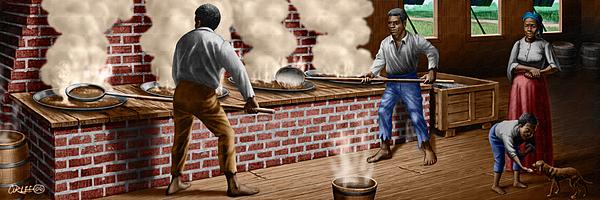 Slaves Refining Sugar Cane Jamaica Train Historical Old South Americana Life Print by Walt Curlee