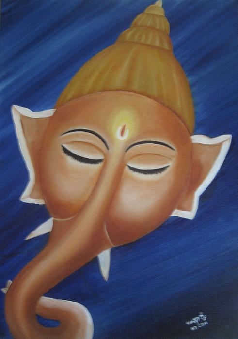 Sleeping Ganesha Print by Usha Rai