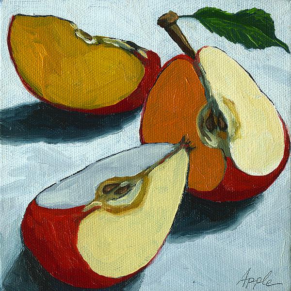 Sliced Apple Still Life Oil Painting Print by Linda Apple