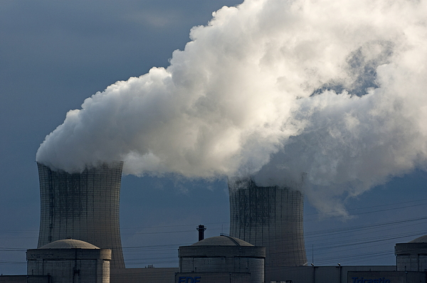 Smoke Chimneys Of Tricastin Nuclear Power Plant Print by Sami Sarkis