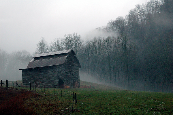 Smokey Mountains Barn Print by Kathy Schumann