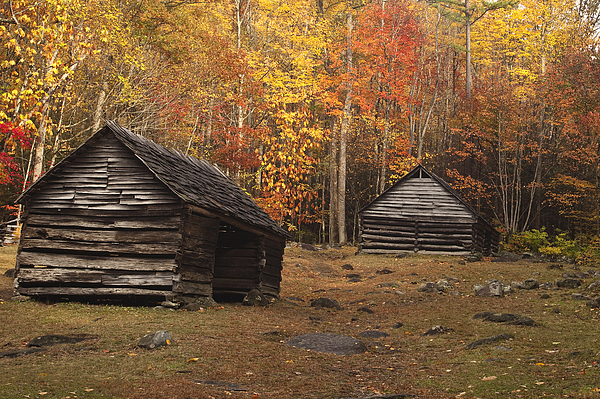 Smoky Mountain Cabins At Autumn Print by Andrew Soundarajan