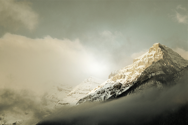 Snow Capped Banff Print by Andrea Hazel Ihlefeld