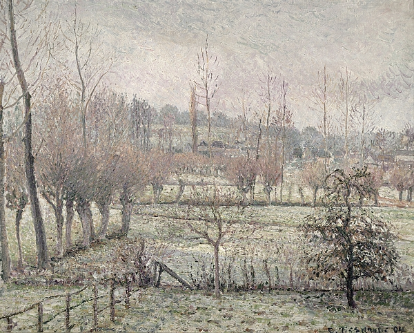Snow Effect At Eragny Print by Camille Pissarro
