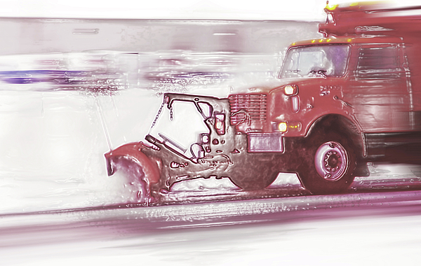 Snow Plow In Business Park 2 Print by Steve Ohlsen