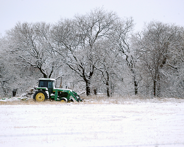 Snow Tractor Print by David Chalker