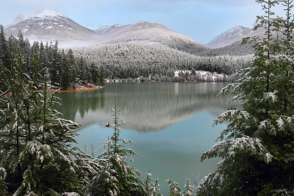 Snowy Green Lake Sunset Whistler B.c Canada Print by Pierre Leclerc Photography