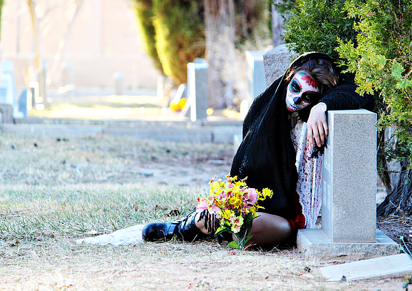 Sorrow - Dia De Los Muertos Print by Val Armstrong