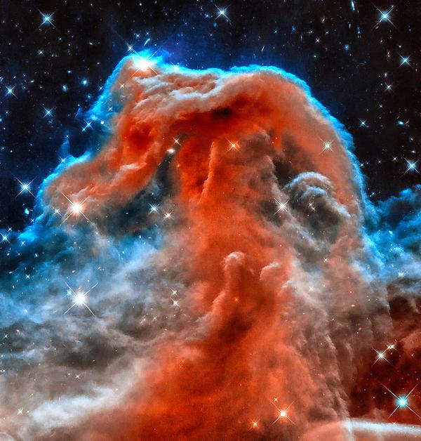 Space Image Horsehead Nebula Orange Red Blue Black by ...