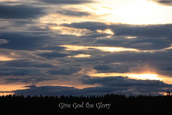 Spokane Sunset - Give God The Glory Print by Carol Groenen