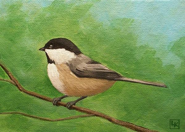 Spring Chickadee Print by Lisa Kretchman