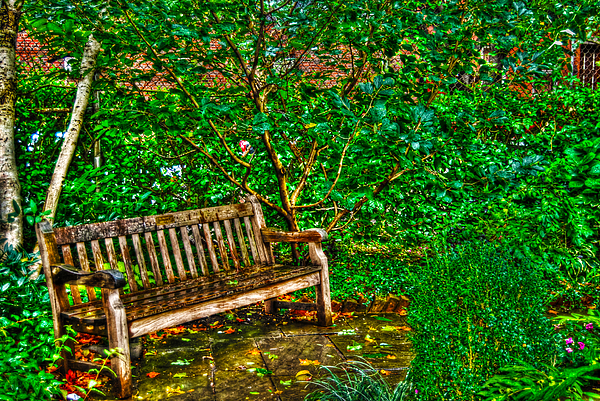 St. Luke In The Field Garden Bench Print by Randy Aveille
