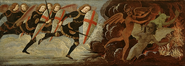 St. Michael And The Angels At War With The Devil Print by Domenico Ghirlandaio