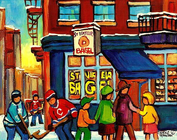 St. Viateur Bagel With Hockey Print by Carole Spandau