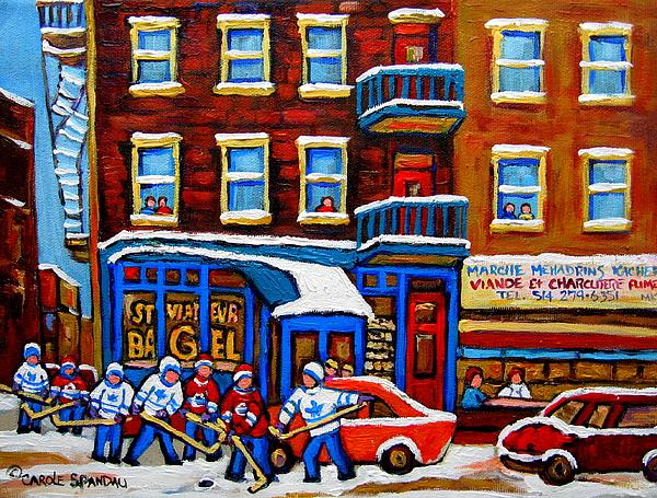 St Viateur Bagel With Hockey Montreal Winter Street Scene Print by Carole Spandau