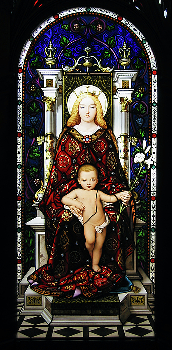 Stained Glass Of Virgin Mary Print by Adam Romanowicz