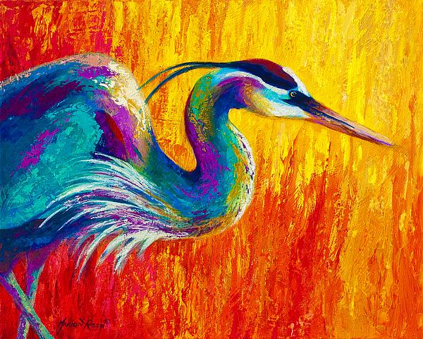 Stalking The Marsh - Great Blue Heron Print by Marion Rose