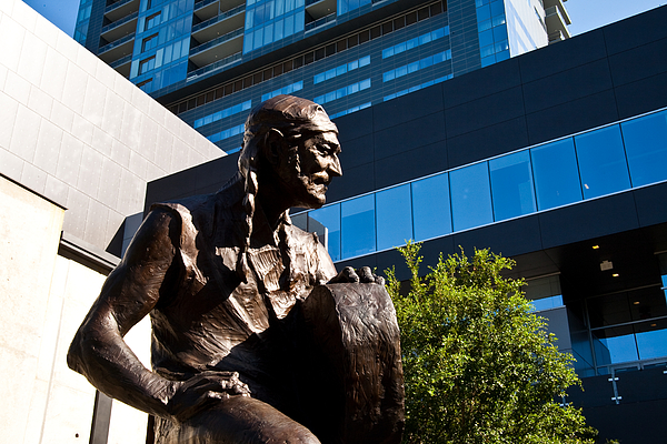 Statue Of Willie Nelson - Side View Print by Mark Weaver