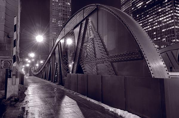 Steel Bridge Chicago Black And White Print by Steve Gadomski